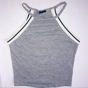 Grey halter top with stripe detail